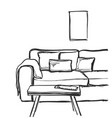 sofa and table on white background vector image