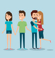 two couples of young people together cartoon style vector image vector image
