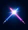 two crossed light neon swords fight club logo vector image vector image