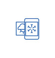 Weather mobile smartphone line icon concept
