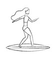 woman in surfboard avatar character vector image