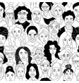 womens diversity head portraits line drawing vector image vector image