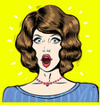 wow pop art surprised woman face portrait with vector image vector image
