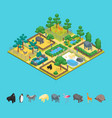 zoo concept 3d isometric view vector image vector image