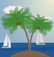 palm trees on sea background with sailboats vector image