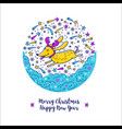 merry christmas and happy new year 2018 dog vector image
