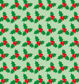 Christmas seamless pattern with berries on a green vector image