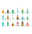 flat design liquor bottles and glasses vector image