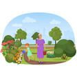 the girl watering flowers vector image