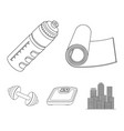 a dumbbell a rug and other equipment for training vector image vector image
