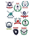 Baseball game retro emblems and icons vector image vector image