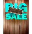 Big sale label over wood background vector image vector image