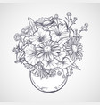 bouquet chamomile flowers and petunias vector image vector image