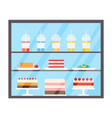 cake and juices in plastic cups refrigerator vector image vector image