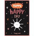 card with funny smiling sun vector image