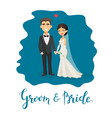 cartoon bride and groom this vector image vector image