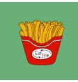 Cute hand-drawn cartoon-style fries vector image vector image