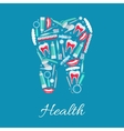 Dental health poster of dentistry items vector image