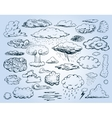 doodle collection hand drawn clouds vector image