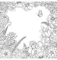 doodle floral frame vector image vector image