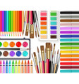 drawing tools realistic top view brush vector image vector image