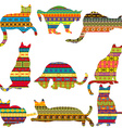 Ethnic decorative patterned cats vector image