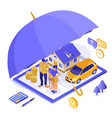family car home insurance isometric vector image vector image