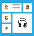 flat icon center set of secretary earphone vector image vector image