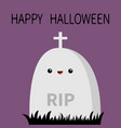 happy halloween grave stone cemetery cross vector image
