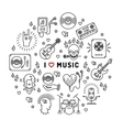 I love music line art icons circle infographic vector image vector image