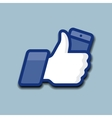 LikeThumbs Up symbol icon with mobile phone vector image vector image