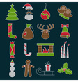 line craft icons set of christmas theme vector image vector image