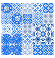 majolica tile collection azulejo design blue vector image