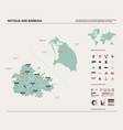 map of antigua and barbuda high detailed country vector image vector image