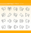 megaphone simple black line icons set vector image vector image