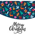merry christmas hand lettering greeting card for vector image vector image