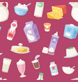 milk everyday products seamless pattern vector image vector image