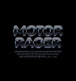modern label motor racer black and metal alphabet vector image