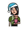 mom with little baby christmas cartoon vector image