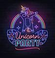 neon sign dabbing unicorn with rainbow vector image vector image