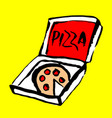pizza icon grunge ink vector image