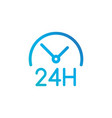 round the clock icon 24 hours working linear vector image vector image