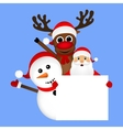 Santa Claus with snowman and reindeer peeking vector image vector image