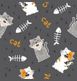 seamless pattern cute cat smiling vector image