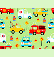 seamless pattern with rescue vehicles cartoon vector image vector image