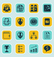 Set of 16 hr icons includes business goal vector image