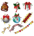 set of christmas icons in cartoon style vector image vector image