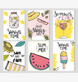 set six bright summer card templates decorated vector image