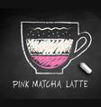 sketch pink matcha latte vector image