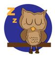 sleeping cartoon owl vector image vector image